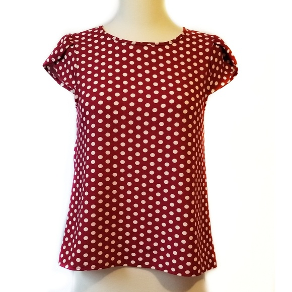 faa4bd377128 The Outfit Tops   Womens Red White Polka Dot Top Tulip Sleeves S ...